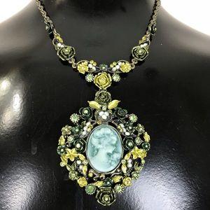 Jewelry - Green Rose Jewel Pearl Cameo Earring Set